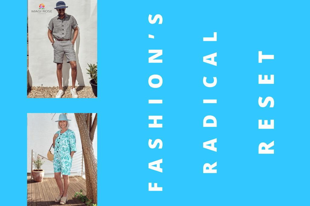 Shows two models a woman and a man standing in a garden modelling summer clothes. Fashion's radial reset some argue has come as a result of the Covid pandemic as fashion became democratised by people's easy access to the internet.